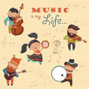 Cute musicians and dancer Stock Illustration