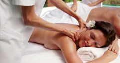 Relaxed couple having massage Stock Footage
