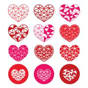 Geometric red and pink heart for Valentine's Day icons - love - stock illustration