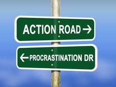 Action versus Procrastination road signs Stock Illustration