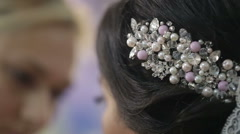 Beautiful decoration on the head of the bride Stock Footage