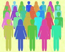 Crowd of men and women. Crowd sourcing -  People Power - Gender equality Stock Illustration