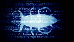 Computer bug ugly code blue Stock Footage