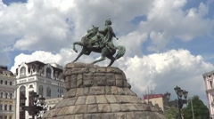 Kiev, monument to Bogdan Khmelnitsky Stock Footage