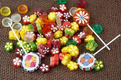 Assortment of colorful candy and lollipops Stock Photos