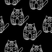 Funny Seamless pattern with cat. Baby cat vector pattern. Cartoon vector seam - stock illustration