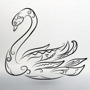 Vector illustration eps 10 of Abstract black swan - stock illustration