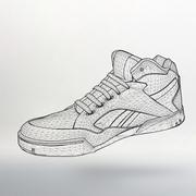 Vector illustration eps 10 of Sport shoes for running. Scope of lines and dot Stock Illustration