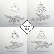 Set triangle pyramid on the arm. The hand holding a pyramid. Polygon triangle Stock Illustration