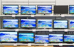 Moscow, Russia - February 02. 2016. TV in Eldorado is large chain stores selling - stock photo