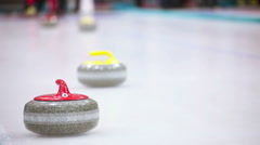 Curling game. Winter Olympic sport - stock footage