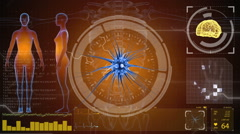 Brain impulses. Neuron system. Human anatomy. HUD background - stock footage