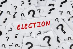 Election text with question mark Stock Photos