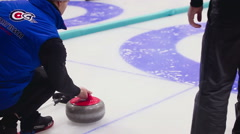 Curling game. Winter Olympic sport Stock Footage