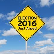 Yellow road sign toward election 2016 - stock photo