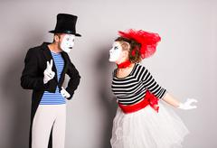 Two mime, valentine day concept, April Fools Day concept - stock photo