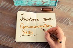 Handwritten text IMPROVE YOUR COMMUNICATION SKILLS - stock photo