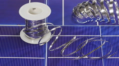 Solar panel cell elements and wires assembling details Stock Footage