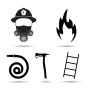 Fire fighter equipment icons vector set isolated on white background Piirros