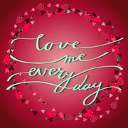 Hand drawn callygraphy card. Valentine love card Stock Illustration