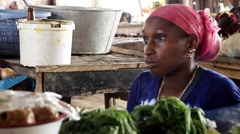 Woman vendors In African Market Stock Footage