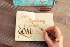 Message GOAL GRAB OPPORTUNITY AND LIVE - stock photo