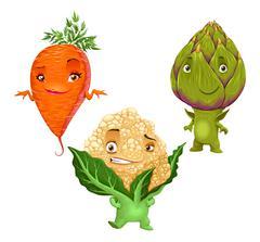 Carrot, Cauliflower and Artichoke Stock Illustration