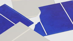 Broken solar panel cell parts rotating background Stock Footage