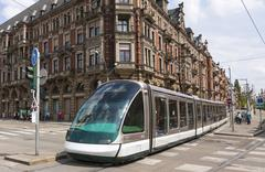 Stock Photo of Modern tram on a street of Strasbourg, France