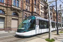Modern tram on a street of Strasbourg, France - stock photo