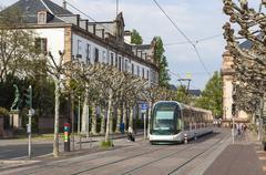 Modern tram on a street of Strasbourg, France Stock Photos