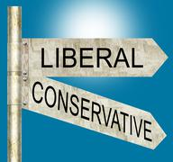 Liberal Conservative Road Signs Stock Illustration