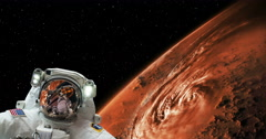 Astronaut Spacewalk Hurricane on Mars From Space, 4K - stock footage