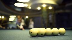Man plays billiards. Hits the ball Stock Footage