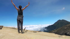 Successful woman admire beautiful view during trekking Stock Footage