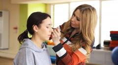 makeup, backstage, powder - stock footage