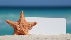 Blank white board and starfish on sand against turquoise caribbean sea water Stock Footage