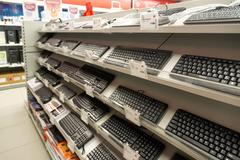 Moscow, Russia - February 02. 2016. Computer keyboard in  Eldorado, large chain Stock Photos