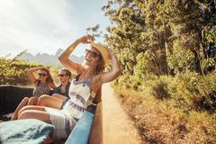 Cheerful young woman with friends in the back of a pickup truck - stock photo