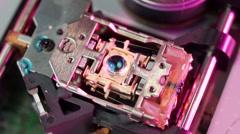 Macro of cd-rom laser head 01 - stock footage