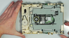 Disassembling cd-rom optical drive 02 Stock Footage
