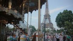PARIS, FRANCE-JULY 23,2015: Vintage carousel on july 23, 2015 in Paris, France Stock Footage