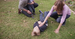 Parents watching their two boys wrestling on the grass - stock footage