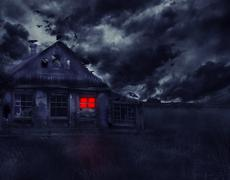 Old abandoned house with ghosts Stock Photos