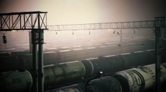 Railroad transportation tank with oil Stock Footage