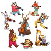 Musician cartoon animals - stock illustration