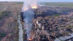 AERIAL VIEW. Dry Grass Burning In Steppe - stock footage