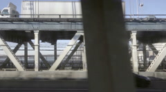 US Mail truck driving across Manhattan Bridge view from moving B subway train NY Stock Footage