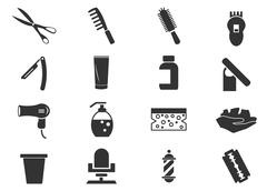 Barbershop icons set Stock Illustration