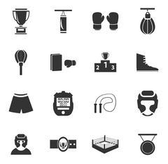 Boxing icon set - stock illustration